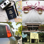 A passport and camera, two wedding rings, a car, and our branch locations